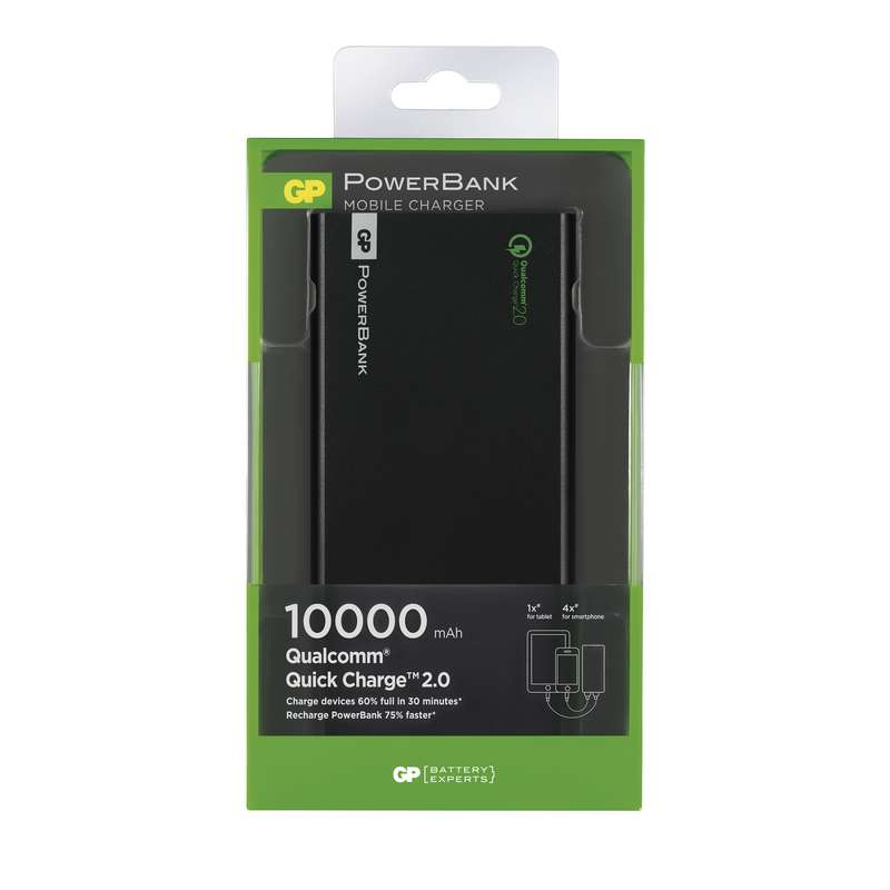 Power bank GP FP10MB 10000mAh černá, QC2.0
